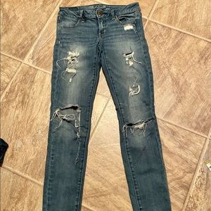 American eagle distressed jeans jeggings stretch 2
